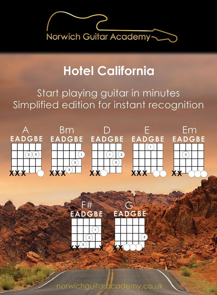 Hotel California Beginner Guitar Chords Lesson. Learn to play Hotel California with simple chord shapes so you can focus on playing Rhythmically & in time.