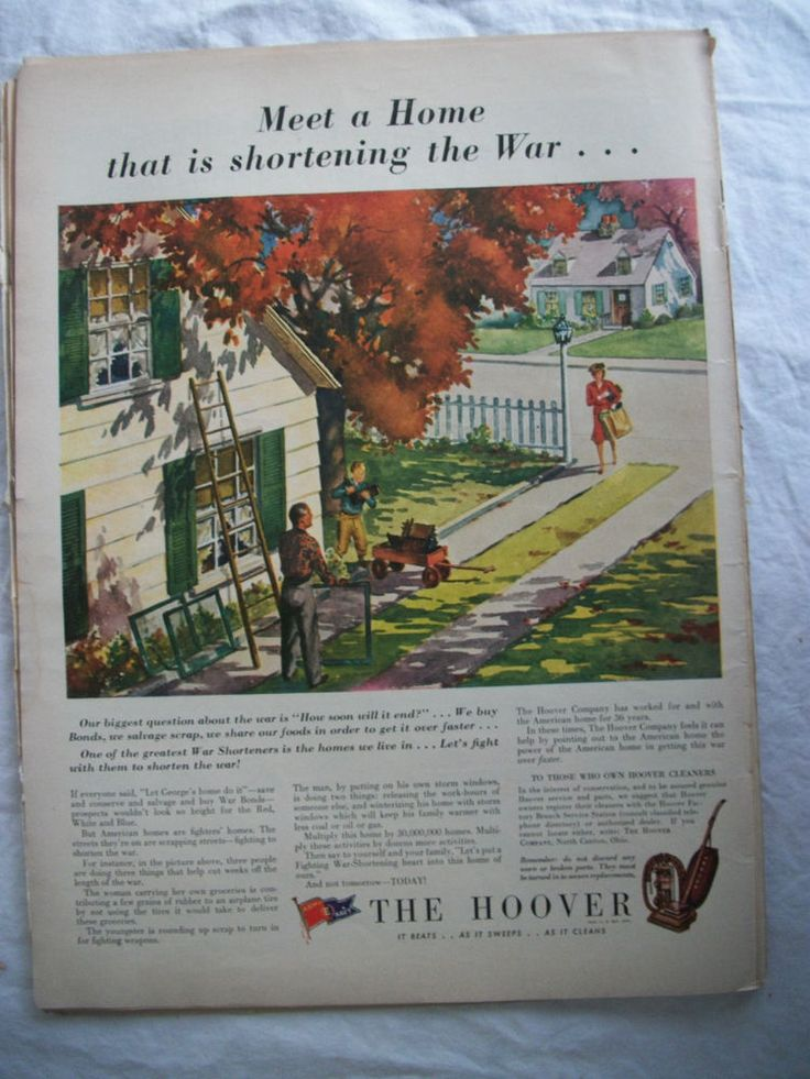 VTG 1943 Orig Magazine Ad The Hoover Vacuum Cleaner Home Shortening the War WW2