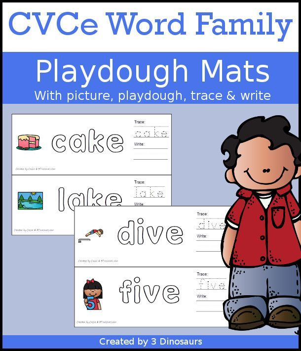 Cvce Word Family Playdough Mats With Pictures 111 Mats With Picture Playdough Area Tracing And Writing 3dino Cvce Words Word Families Cvcc Word Families