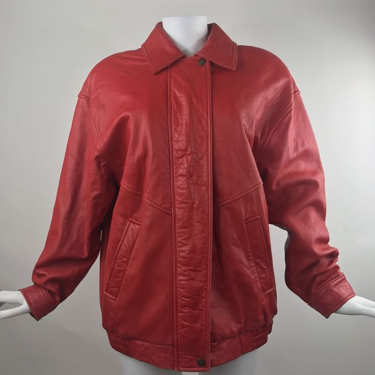 VTG Red Leather Coat by Siena Studio Soft Leather Jacket Apple Red Fall Winter  | eBay