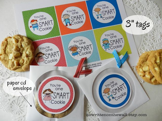 It's Written on the Wall: 18 Fun Tags-You're One Smart Cookie-Teacher Appreciation and Kids Lunches (Home & School)