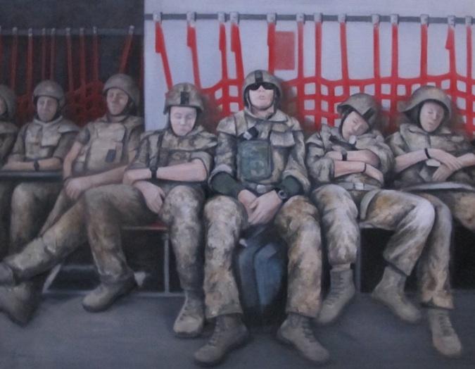 På vej ud/hjem. Sovende soldater i Hercules-flyvemaskinen/C130. Mathilde Fenger. Olie på lærred 2011