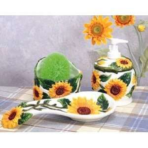 sunflower kitchen decor | Sunflower Kitchen Decor spoon rest soap pump scrubby NW