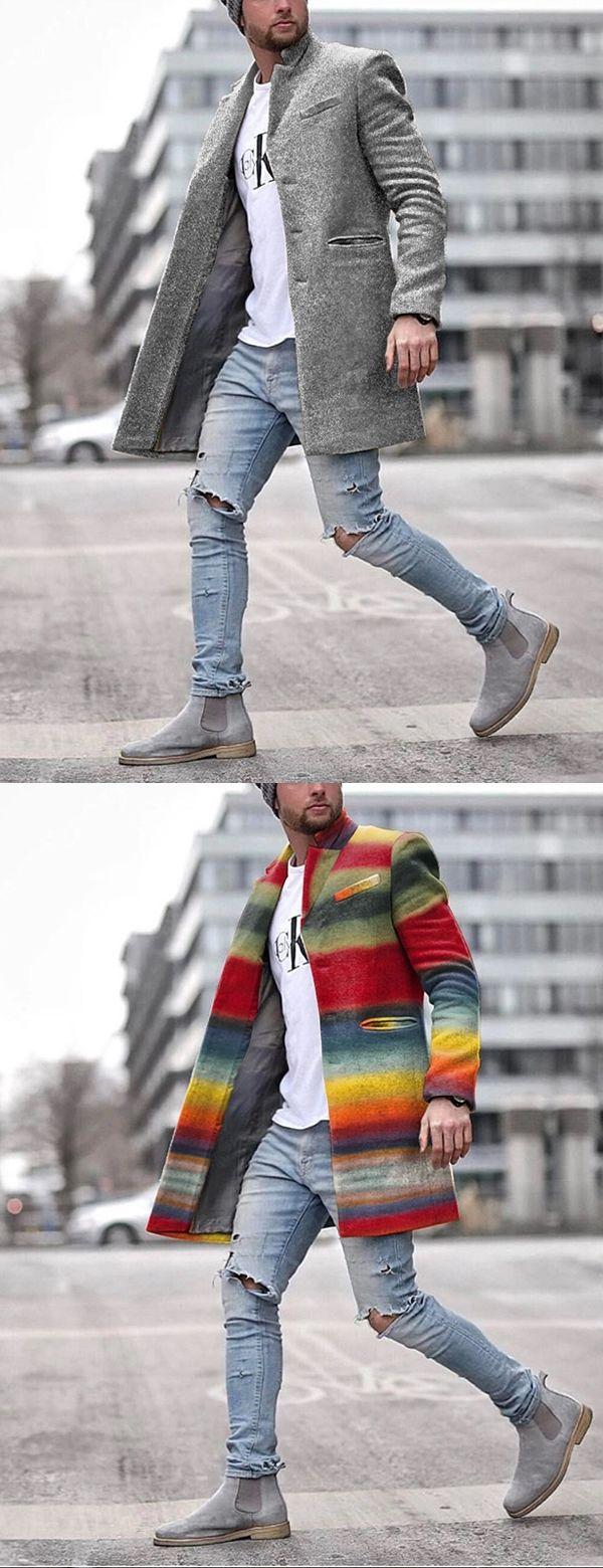 Men's Fashion Solid Color Pocket Coat
