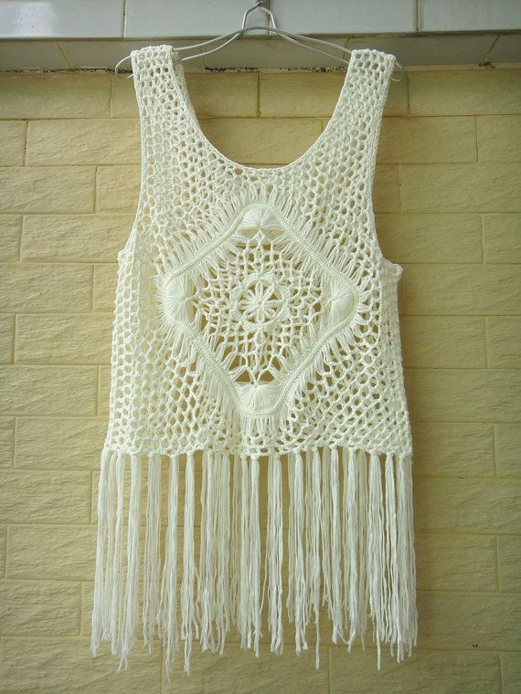 Hippie Long Fringe Crochet Vest Beach Cover Up Music Festival Top