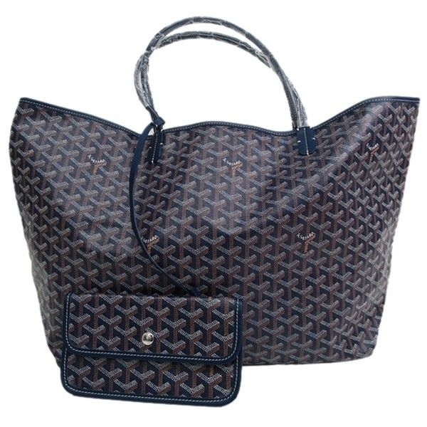Pre-owned Goyard Auth Saint Louis Gm Canvas/leather (bf091128) Navy... (29.940 ARS) ❤ liked on Polyvore featuring bags, handbags, tote bags, navy, goyard tote bag, leather tote bags, leather tote, goyard tote and canvas tote bag