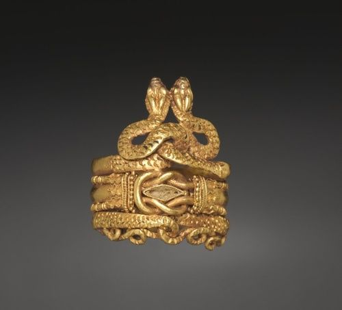 Gold Ring Roman 1-100 AD Featuring snakes and Herakles...