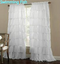 Multi-layer Lace Curtain for Girl's Bedroom Semi-shade Blinds Sheer Curtain(China (Mainland))