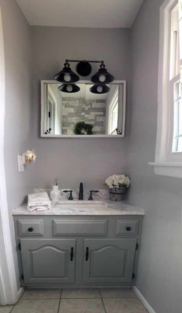 French Country Bathroom Farmhouse Bathroom Gray White Bathroom Airstone Accent Wall French Country Bathroom Gray And White Bathroom Country Bathroom
