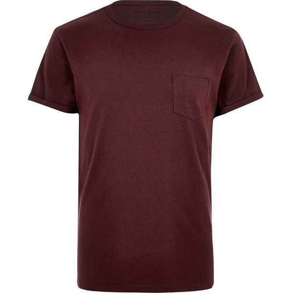 River Island Burgundy chest pocket T-shirt ($4.00) ❤ liked on Polyvore featuring men's fashion, men's clothing, men's shirts, men's t-shirts, red, mens red shirt, mens short sleeve t shirts, burgundy mens shirt, mens crew neck shirts and mens cotton t shirts