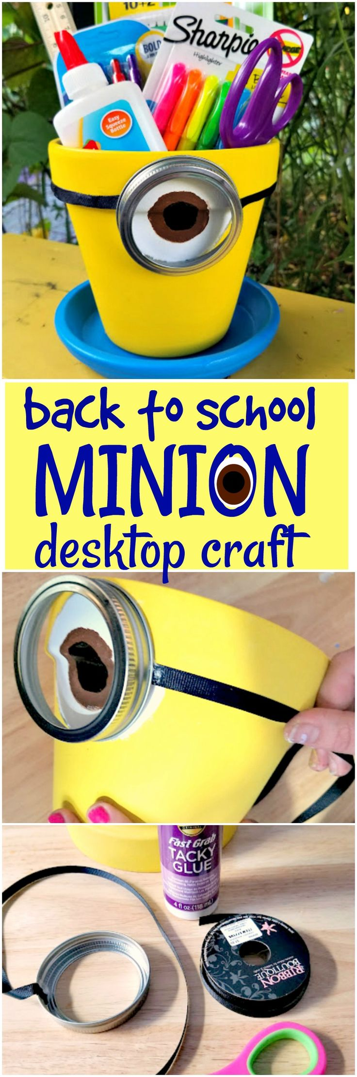 Back to school craft. Keep them busy and get them excited for back to school with this fun and easy Minions craft! A desktop school supplies storage pot.
