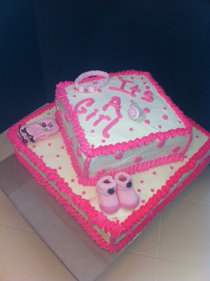 17 best images about baby shower on pinterest cute cakes baby showers and hot pink - Easy baby shower cakes for girls ...
