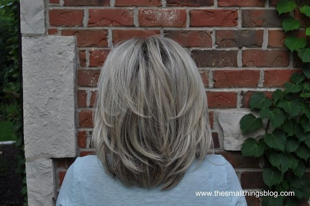 Layered grey hair.  Not too long, not too short.                              …