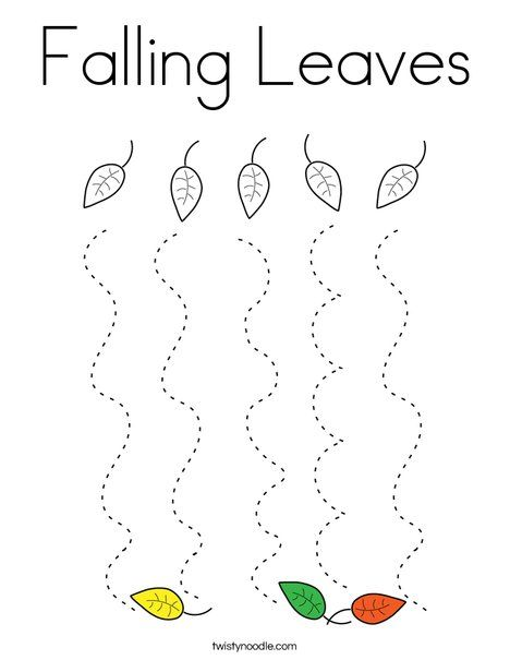 Falling Leaves Coloring Page - Twisty Noodle (With images ...