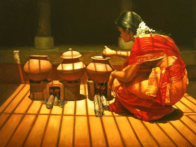 Tamil girl cooking - Painting by S. Elayaraja