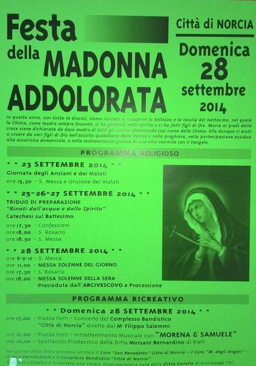Programma Festa della Madonna Addolorata a Norcia