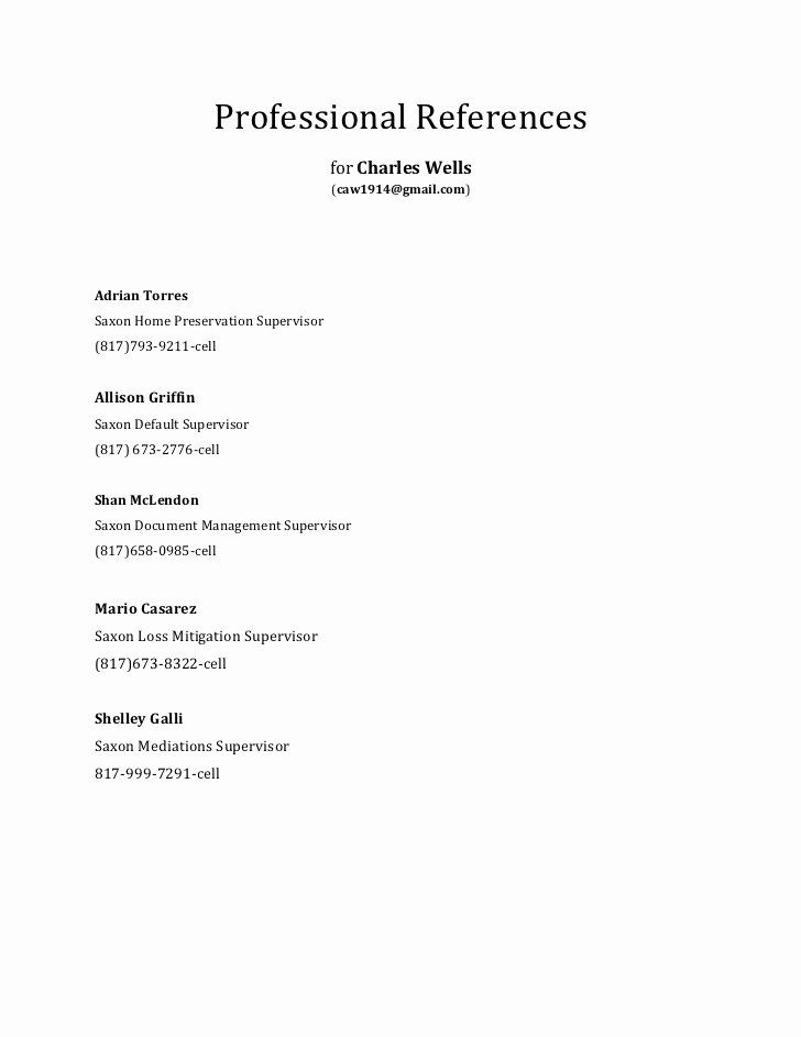 Listing References On A Resume New Professional References In 2020