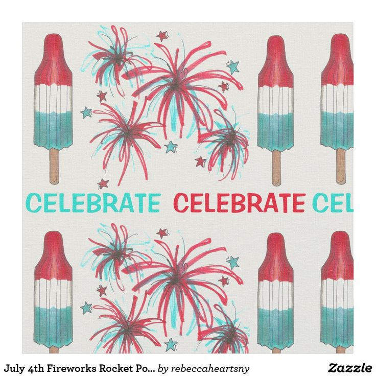 July 4th Fireworks Rocket Pop Popsicles USA Fabric