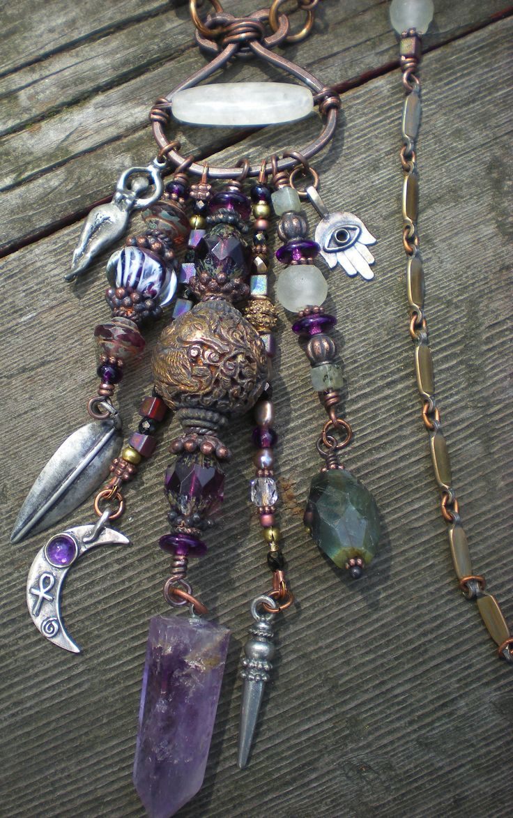 ☆ Maggie Zee Goddess Protective Amulet Necklace :¦: Details» Amethyst, White Jade, Labradorite, Fluorite, Vintage Glass, Copper Beads and Silver Charms :¦: Etsy Shop: Maggiezees ☆