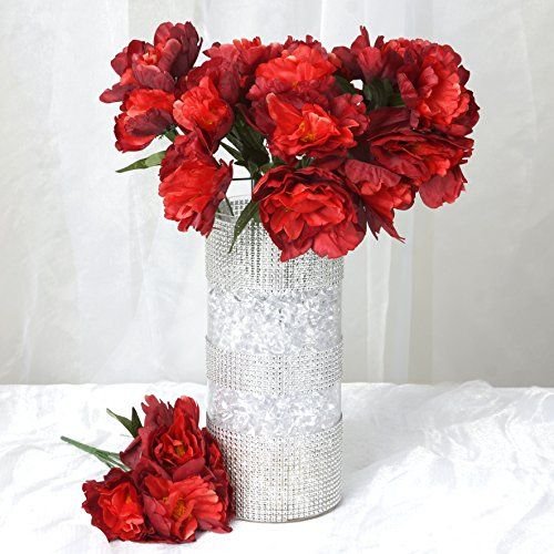 BalsaCircle 60 pcs Silk PEONY Flowers for Wedding Arrangements  12 bushes  Red >>> To view further for this item, visit the image link.