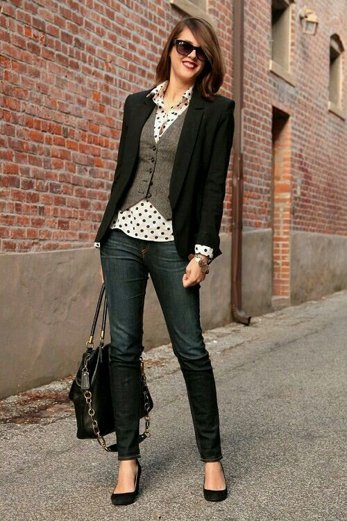 Very cute combo. Love the vest in the layers