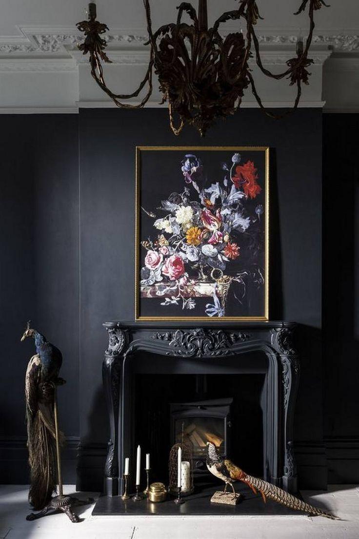 comment accrocher un tableau au mur déco salon manteau cheminée