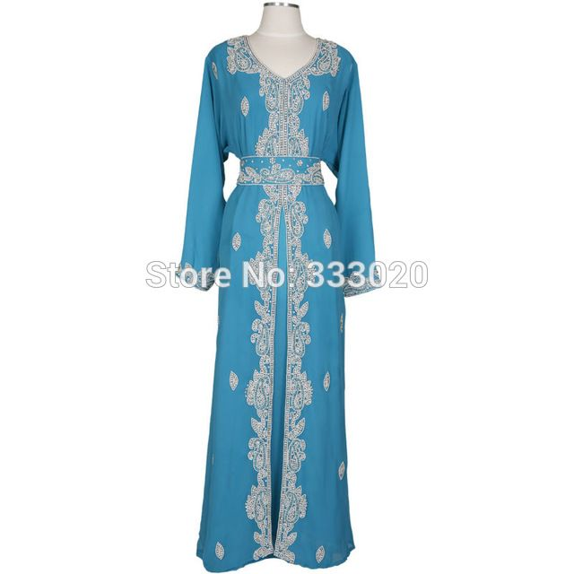 Mangas compridas Decote Em V Chiffon Marocaine Caftan Marroquino Kaftan Muçulmano Evening Vestido Longo Formal Vestido de Festa robe de soirée