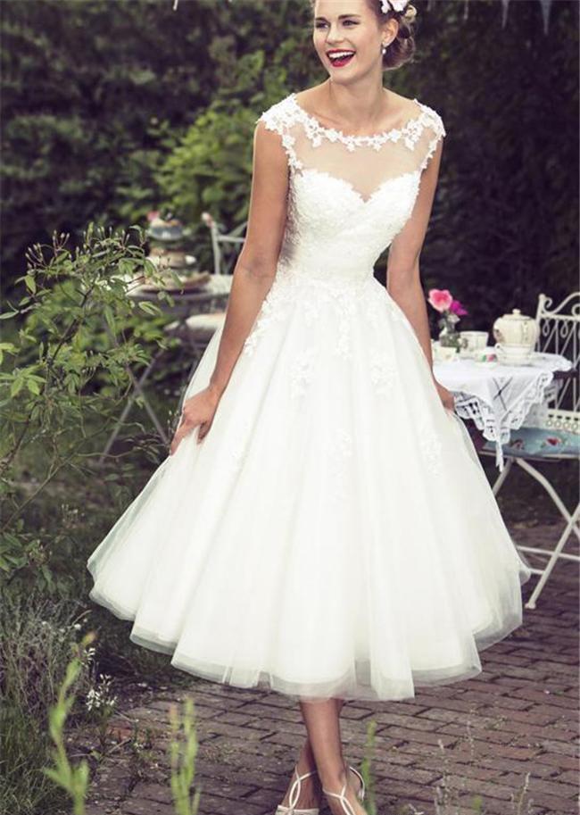 Lace Tea Length Beach Wedding Dresses 2019 Vintage Sheer Neck