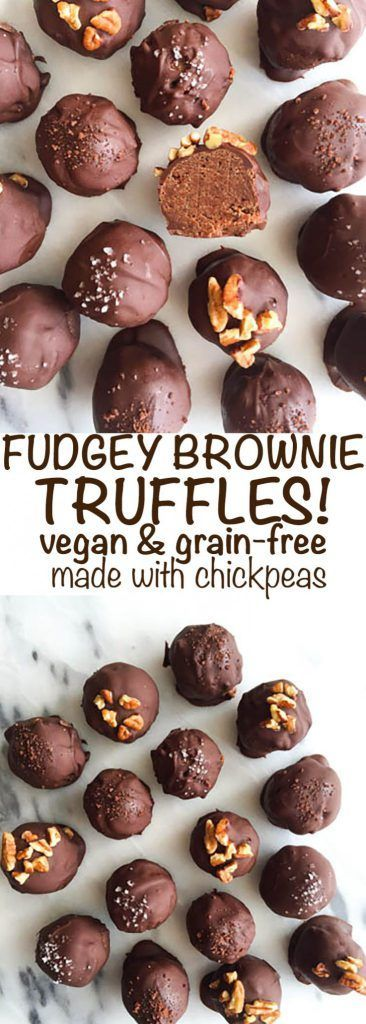 Super Fudgy Brownie Batter Truffles! Vegan, grain-free and made with chickpeas! So easy to make and they have an extra protein boost from these dreamy and healthy chickpeas. The perfect healthy holiday dessert.
