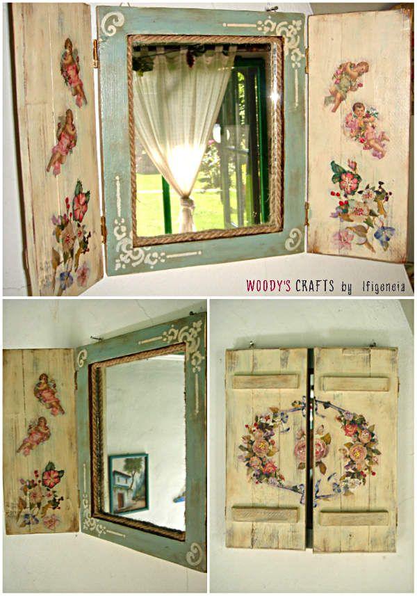 """Χειροποίητος Καθρέφτης """"Παράθυρο""""  More info at: http://woodys-crafts.wix.com/woodys-crafts#!xeiropoiitoi-kathreftes/clvk"""