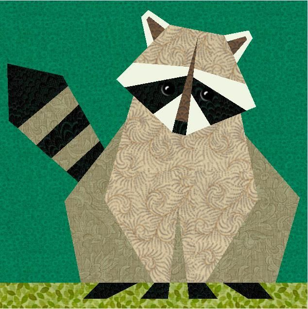 Raccoon Paper Pieced Quilt Block by PieceByNumber.  Found on Craftsy