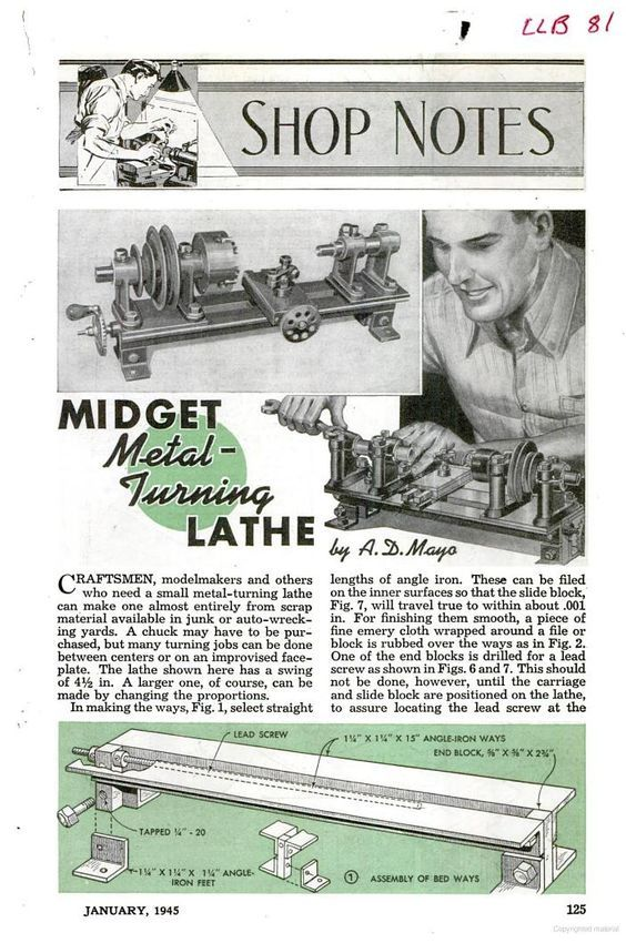 Plans for a Midget Metal Turning Lathe, Popular Mechanics, circa January 1945, page 125