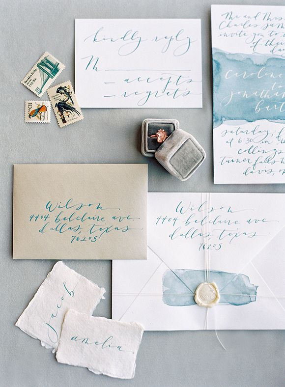 Script Merchant Calligraphy | Blue Watercolor Wedding Invitations | Natural  Bridal Inspiration Under A Waterfall |