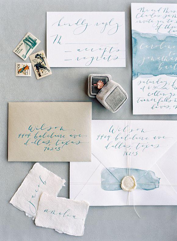 Script Merchant Calligraphy | Blue watercolor wedding invitations | Natural bridal inspiration under a waterfall | www.scriptmerchantcalligraphy.com