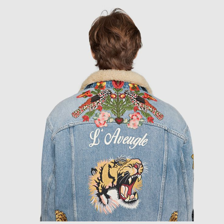 Gucci Embroidered denim jacket with shearling - Gucci Jacket - Ideas of Gucci Jacket - Gucci Embroidered denim with shearling Detail 6 Gucci Denim, Gucci Jean Jacket, Denim Jacket Patches, Cargo Jacket, Bomber Jacket, Revival Clothing, Men's Clothing, Embroidered Denim Jacket, Bleached Denim