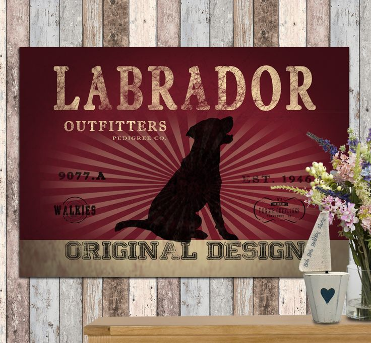 Labrador dog outfitters canvas print. Lovely rustc feel. You can personalise this print with your own dog's name and even choose your own colour to match your walls at home! www.monkeyofthenorth.co.uk