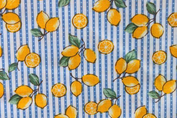 Limón amarillo vintage en azul rayas algodón tela, coser acolchado cocina de verano, 2 yardas