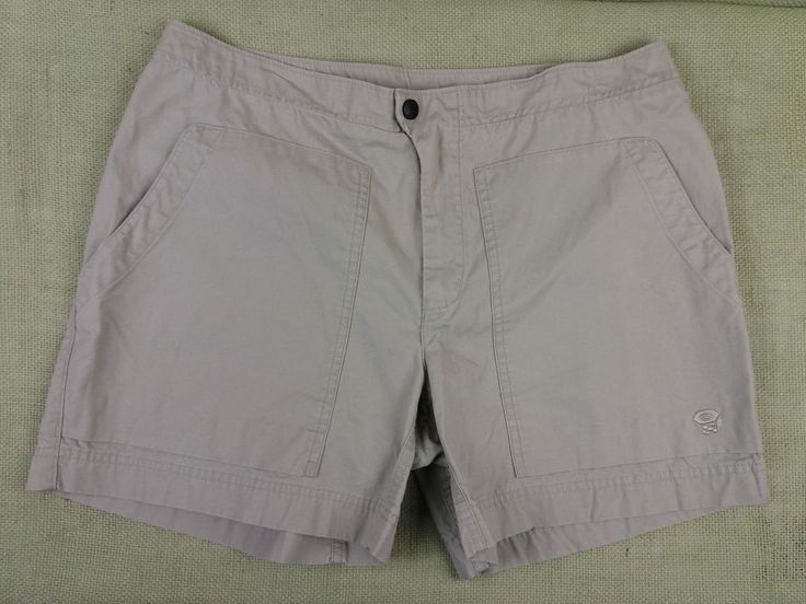 Mountain Hardwear Womens Khaki Shorts Sz 10 Hiking 100% Cotton Zip Back Pocket #MountainHardwear #CasualShorts