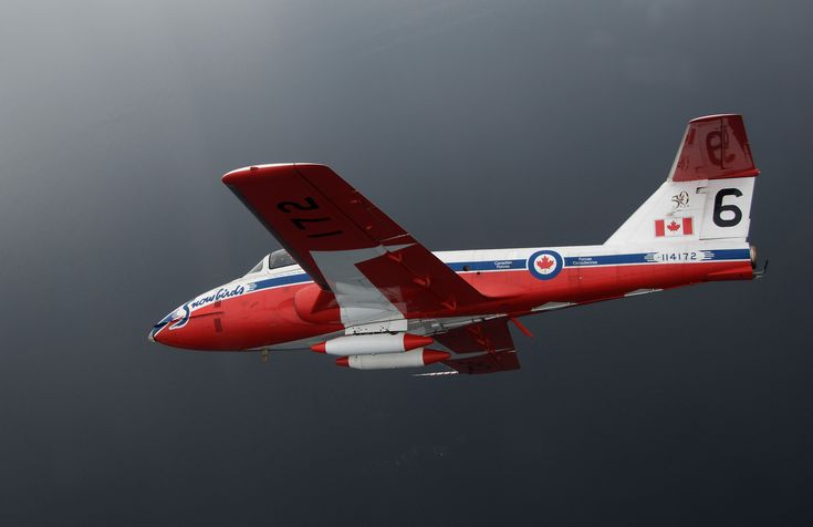 """Royal Canadian Air Force Canadair CT-114 Tutor trainer. Since been replaced by more modern aircraft, but still the mount of the RCAF aerial demonstration team """"The Snowbirds"""". Currently wowing audiences in USA too, & taking up some slack from sparse participation by US service aircraft."""