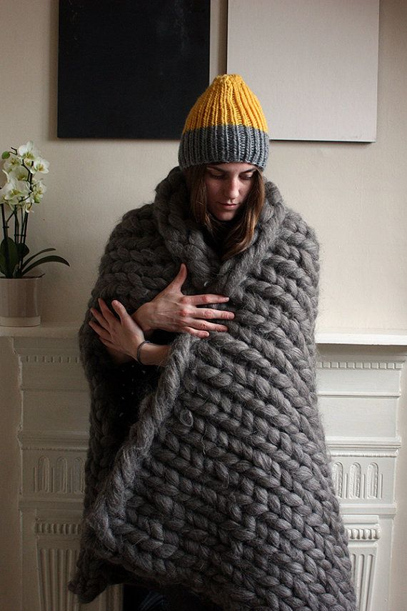 Chunky Knit Corriedale Wool Throw by GraphiteHandKnit on Etsy