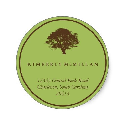 Green brown oak tree circle custom address label sticker