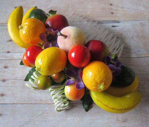 Tropical Small fruits hair Cluster Comb - Carmen Miranda Style - Retro - via Etsy; make on a baby headband! :)