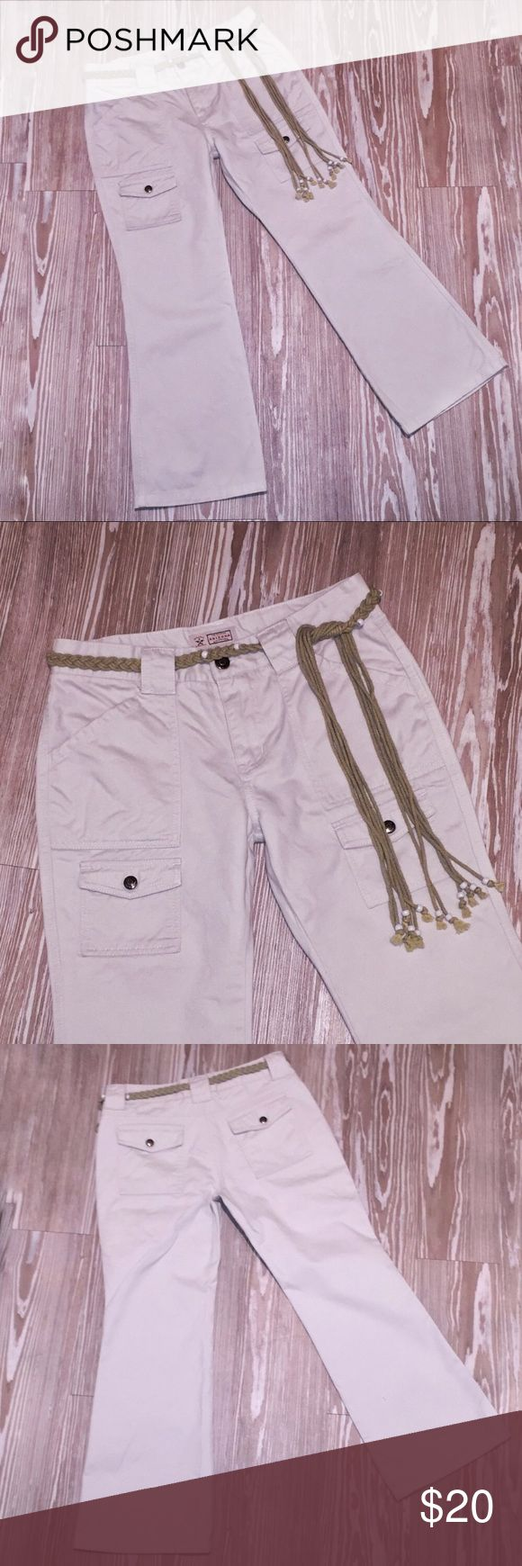 Arizona Jeans 10-1/2+ Khaki Flare Pants w/ Belt Gently used Arizona Jean company khaki Capri in size 10 1/2+ for juniors. Flared bottom.Flap rear pockets. Two front flap pockets. Belt included. Belt loops intact. No holes in pocket. Buttons and zippers work. Minimal wear. Made in Hong Kong 100% cotton Waist 15 inches Hips 19 inches Rise 9 inches  Out seam 34 inches Inseam 25 inches Hem 9-1/2 inches  AC Arizona Jean Company Pants Boot Cut & Flare
