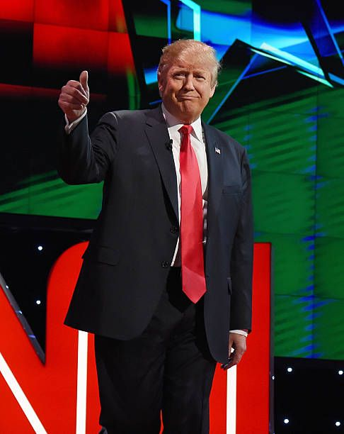 Republican presidential candidate Donald Trump is introduced during the CNN presidential debate at The Venetian Las Vegas on December 15 2015 in Las...