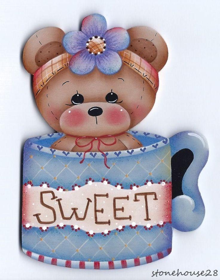 HP TEDDY BEAR Teacup FRIDGE MAGNET #Handpainted