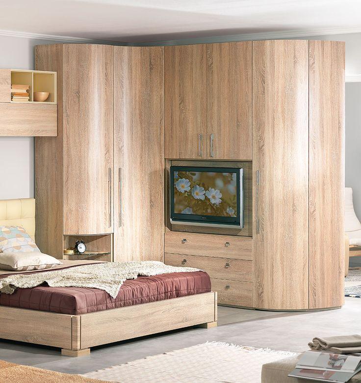 Угловой шкаф в спальню с местом под телевизор