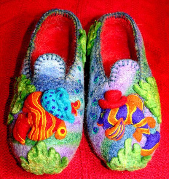 Felt Shoes for woman and for man My fish от ViktoriyaFelt на Etsy