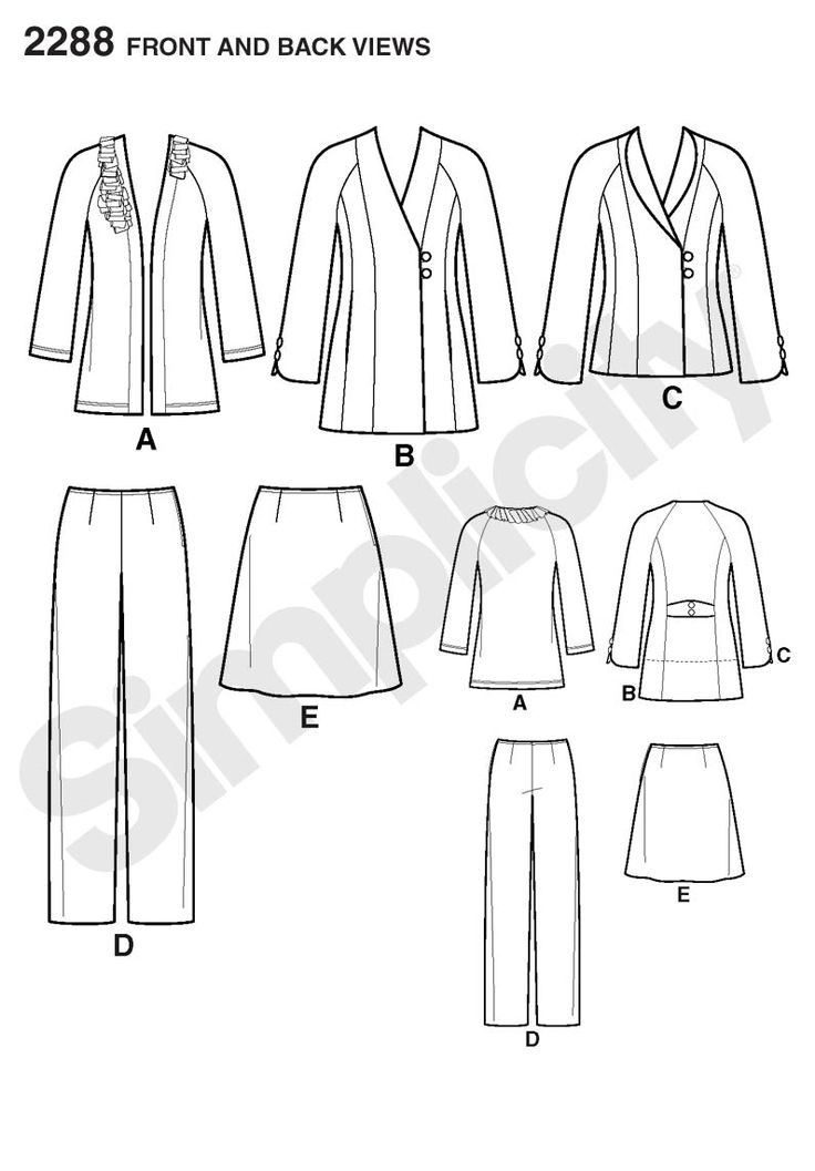 Womens and Plus Size jacket Sewing Pattern 2288 Simplicity Threads Collection: