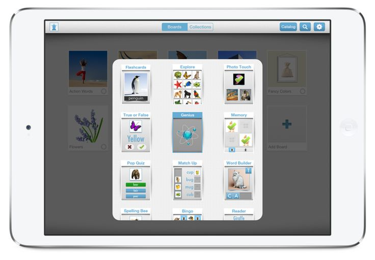 Bitsboard app Flash cards you can use to create your own boards and view those created by others Good for picture identification, spelling, building sentences