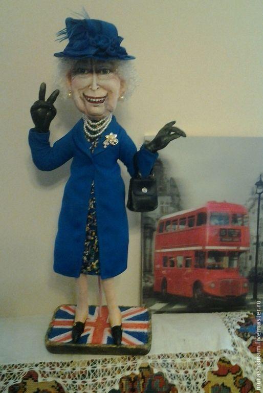 Купить Королева Елизавета II. Интерьерная текстильная кукла. - синий, авторская кукла